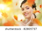 Girl On A Background Of Autumn