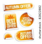 best autumn offers stickers set. | Shutterstock .eps vector #82822882