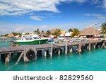 isla mujeres island dock port... | Shutterstock . vector #82829560