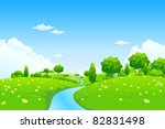 green landscape with river... | Shutterstock .eps vector #82831498