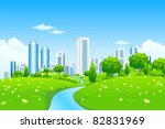 green landscape with trees... | Shutterstock .eps vector #82831969