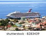 caribbean cruise ship docked on ... | Shutterstock . vector #8283439