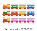 collection of wooden trains | Shutterstock .eps vector #82837957