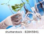 Ecologic laboratory concept. Experiments on plants - stock photo