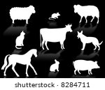 farm animals silhouettes with... | Shutterstock . vector #8284711