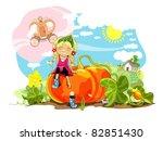 funny girl sitting on big... | Shutterstock .eps vector #82851430