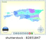 estonia map with flag buttons... | Shutterstock .eps vector #82851847