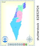israel map with flag buttons... | Shutterstock .eps vector #82852924