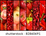 Collage Of Many Fruits And...