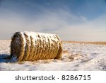 Hay bale covered in snow, in a farmers field.