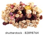 Dried Roses Isolated On White...