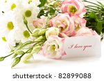 a bouquet of beautiful flowers on a white background - stock photo