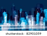city landscape at night | Shutterstock .eps vector #82901059
