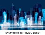 city landscape at night | Shutterstock .eps vector #82901059