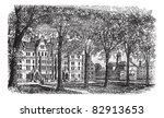 Harvard University, Cambridge, Massachussets vintage engraving. Old engraved illustration of Harvard University campus, during 1890s. Trousset encyclopedia (1886 - 1891). - stock vector