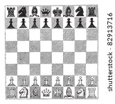 Chess  Vintage Engraving. Old...