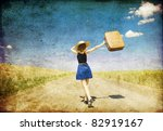 lonely girl with suitcase at... | Shutterstock . vector #82919167