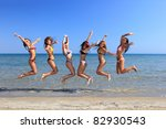 group of six attractive girl... | Shutterstock . vector #82930543