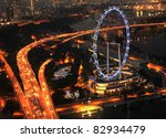 Aerial View On Singapore Flyer...