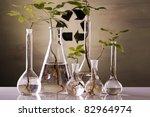 Ecology, seedlings and laboratory - stock photo
