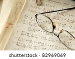 Постер, плакат: glasses over physics formulas