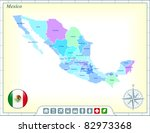 mexico map with flag buttons... | Shutterstock .eps vector #82973368