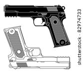 technical line drawing of a 9mm ... | Shutterstock .eps vector #82974733