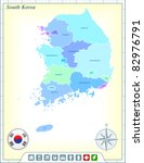 south korea map with flag... | Shutterstock .eps vector #82976791
