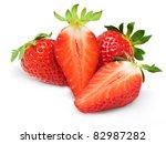 fresh strawberries isolated on... | Shutterstock . vector #82987282