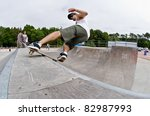 Small photo of ILHAVO, PORTUGAL - AUGUST 13: Nuno Alcaide on a rock`roll during the Skate Open Ilhavo on August 13, 2011 in Ilhavo, Portugal.