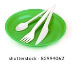 Plastic Cutlery On Green Plate...