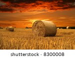 End Of Day Over Field With Hay...