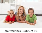 happy mother and kids at home... | Shutterstock . vector #83007571