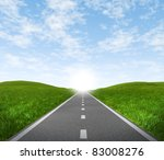 Open Road Highway With Green...