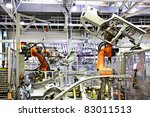 robots in a car factory | Shutterstock . vector #83011513