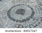 element of cobbled road as background - stock photo