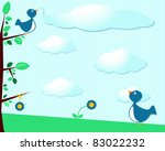 cute birds with clouds ... | Shutterstock . vector #83022232