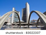 Stock photo view of toronto city hall with blue sky as background 83022337