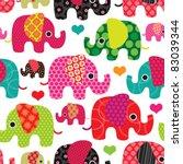 Stock vector seamless retro elephant kids pattern wallpaper background in vector 83039344