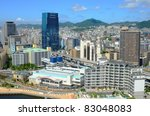 Skyline of Harborland in Kobe, Japan. - stock photo