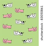 cute farm piggy and cow... | Shutterstock .eps vector #83050861