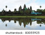 Landscape of Angkor wat temple in Cambodia - stock photo