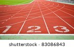 running track numbers one two... | Shutterstock . vector #83086843