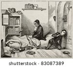 Small photo of Petrus Ramus (Pierre de la Ramee) waiting his killer, old illustration. Created by Fleury, published on Magasin Pittoresque, Paris, 1840