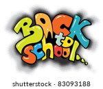 back to school graffiti sign - colorful design - stock vector