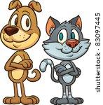 Friendly Cartoon Cat And Dog....