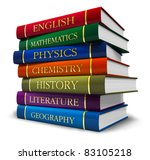 Stack Of Textbooks Isolated On...