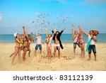 beach wedding of happy newlywed ...   Shutterstock . vector #83112139