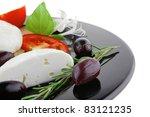 light mozzarella cheese on... | Shutterstock . vector #83121235
