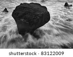 Black and White Seascape by ultra-wide lens - stock photo
